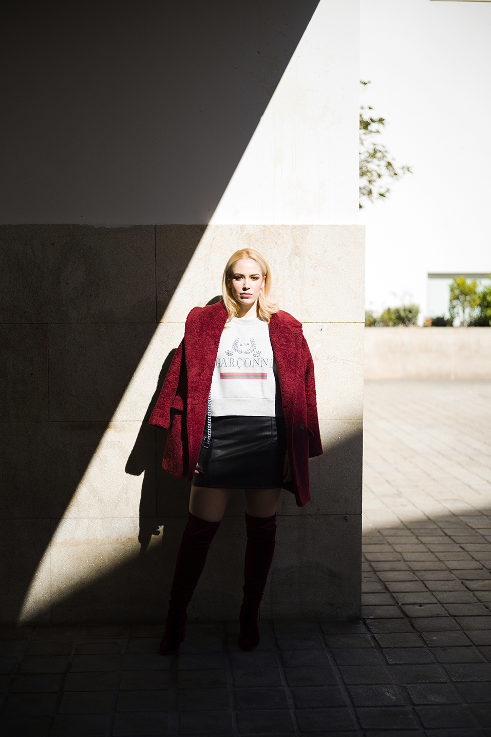 Patripaan with Zara burgundy coat and red velvet thigh high boots.