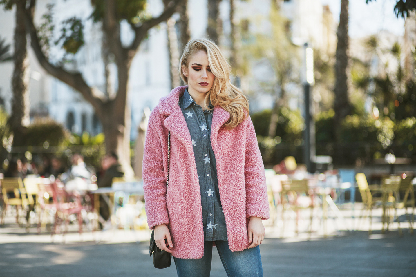 Patripaan with Ralph Lauren stars print denim shirt and Zara pink coat.