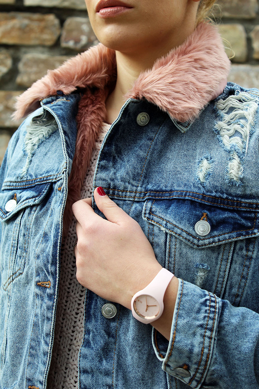 Stradivarius pink fur denim jacket and Ice Watch.