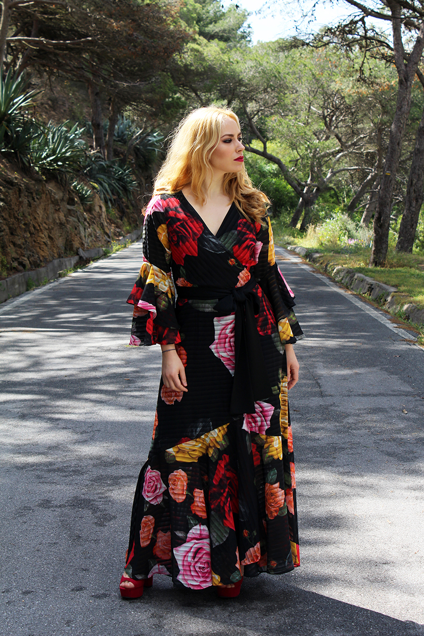 Patripaan BSB Fashion blossom maxi wrap dress.
