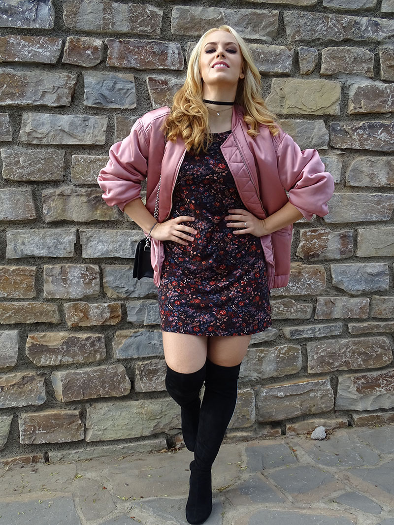 Mango Pink bomber and Zara over the knees boots.