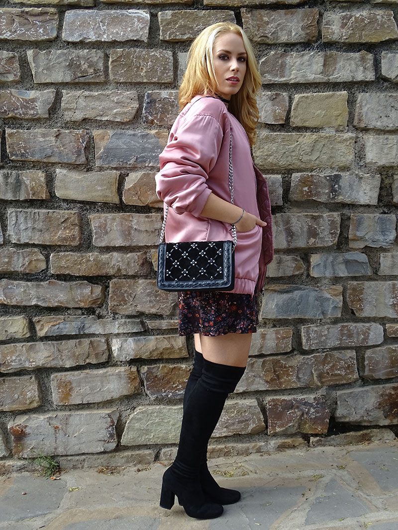 Mango pink bomber and zara thigh high boots look.