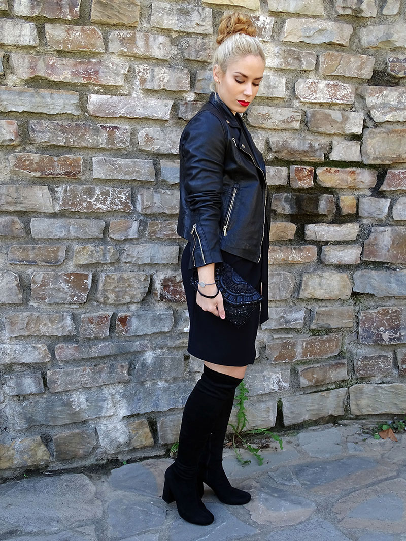Black biker and thigh high boots look.