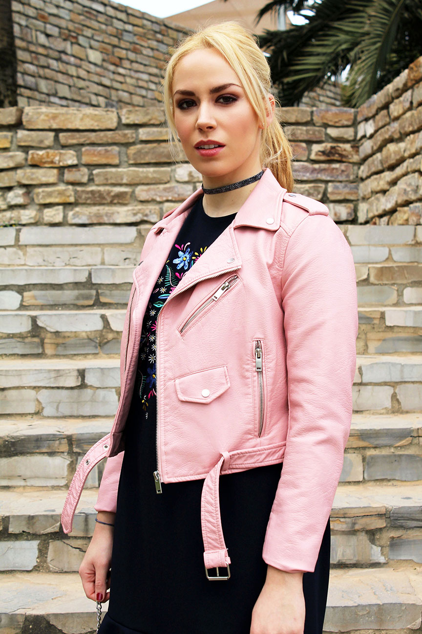 Zara pink biker jacket look.